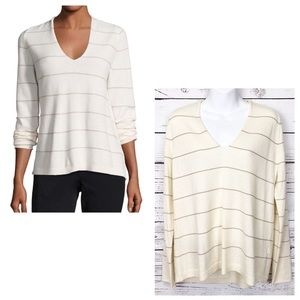 LAFAYETTE 148 cream cashmere sweater gold metallic